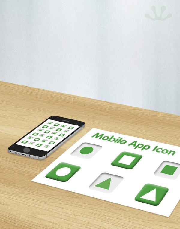 Green and white graphic image of mobile app icons