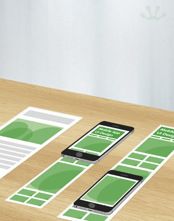 Green and white graphic of mobile phones showing mobile apps UI design