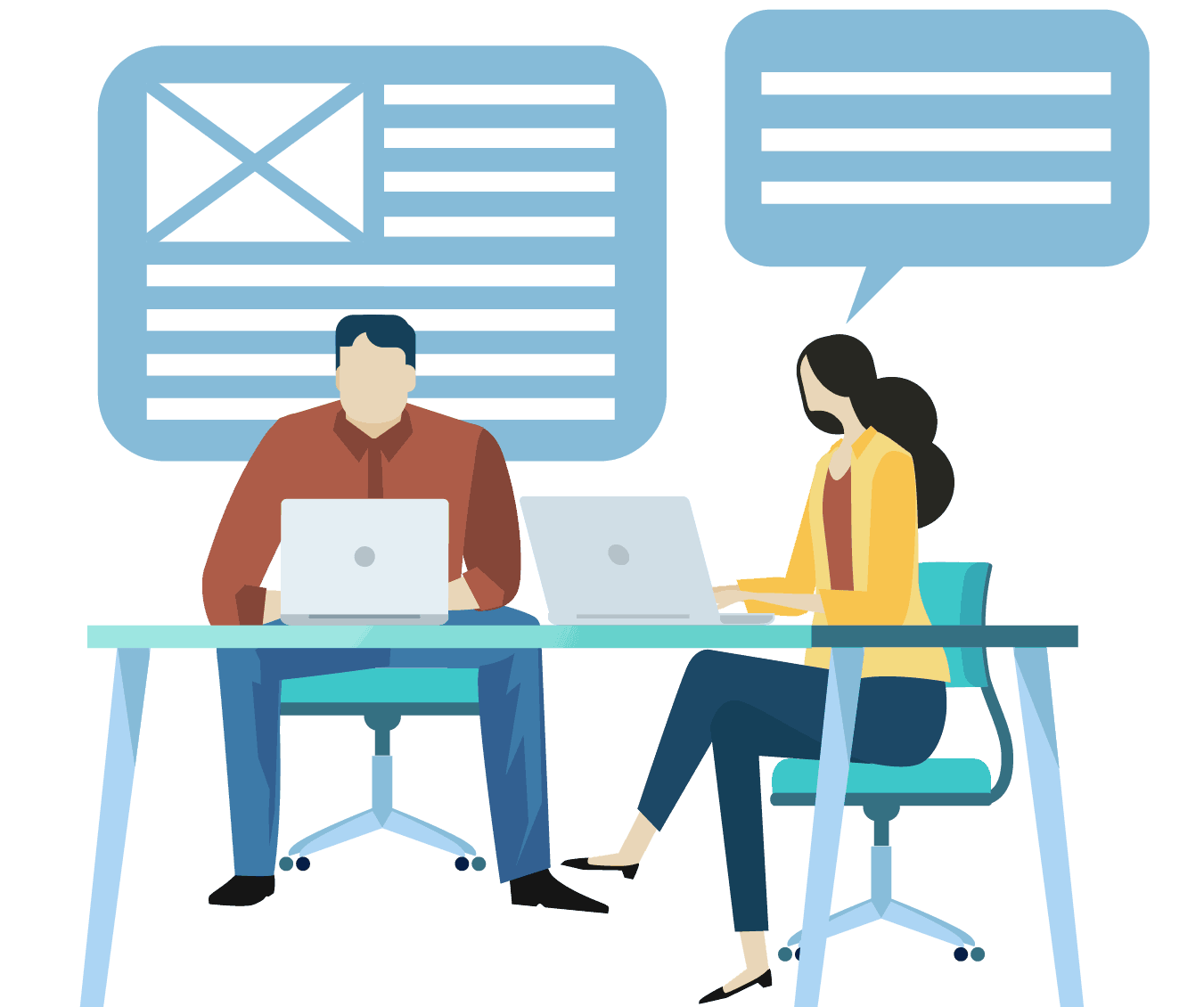 graphic showing two people at desks writing content