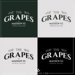 The Grapes Liverpool logo on different coloured backgrounds