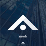 Genesis Student Accommodation - Logo Mark Design on blue background