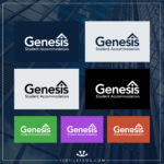 Genesis Student Accommodation - Logo Variations with the different colours used on branding