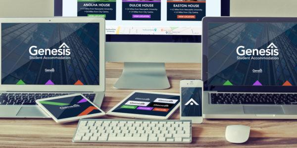 Genesis Student Accommodation - Portfolio main image with branding on