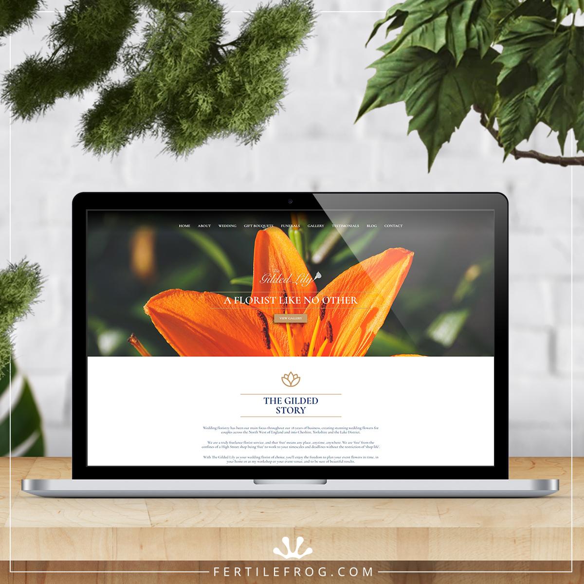 Gilded Lily Florist Website Build on laptop