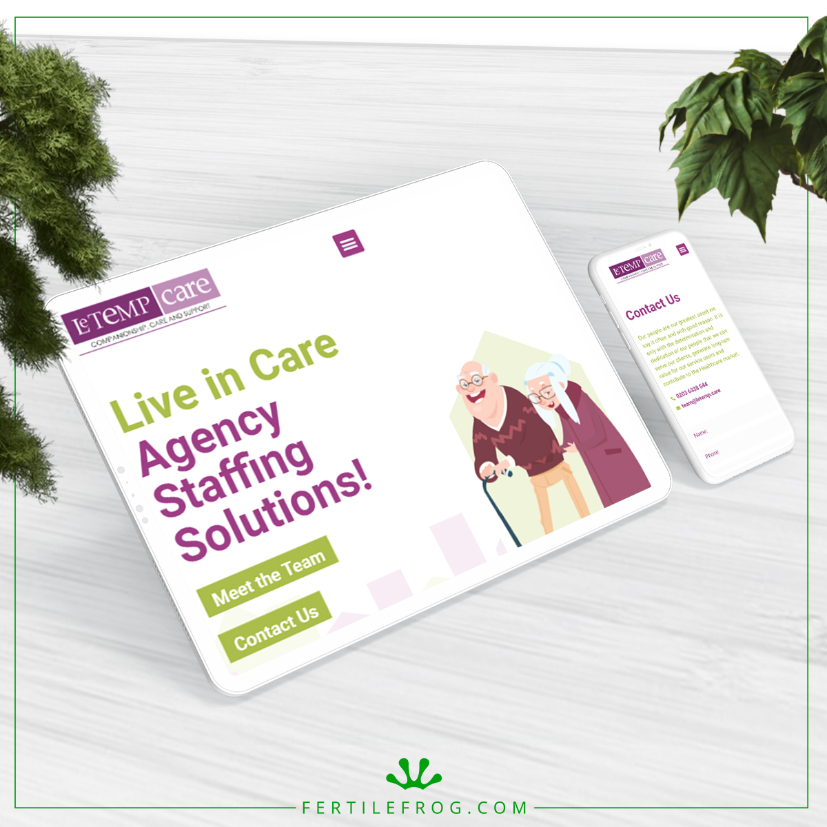 Le Temp Care Agency Website Build tablet and phone