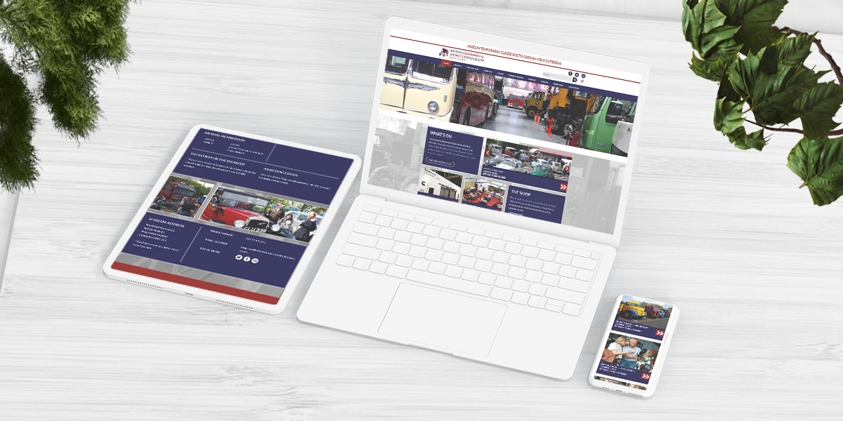 Museum Website Build Main Portfolio Visual with laptop phone and tablet showing home screen