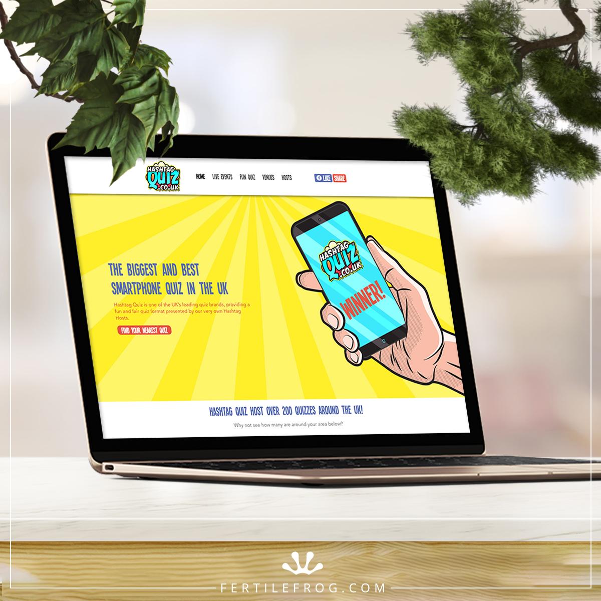 Smartphone Quiz website build on laptop