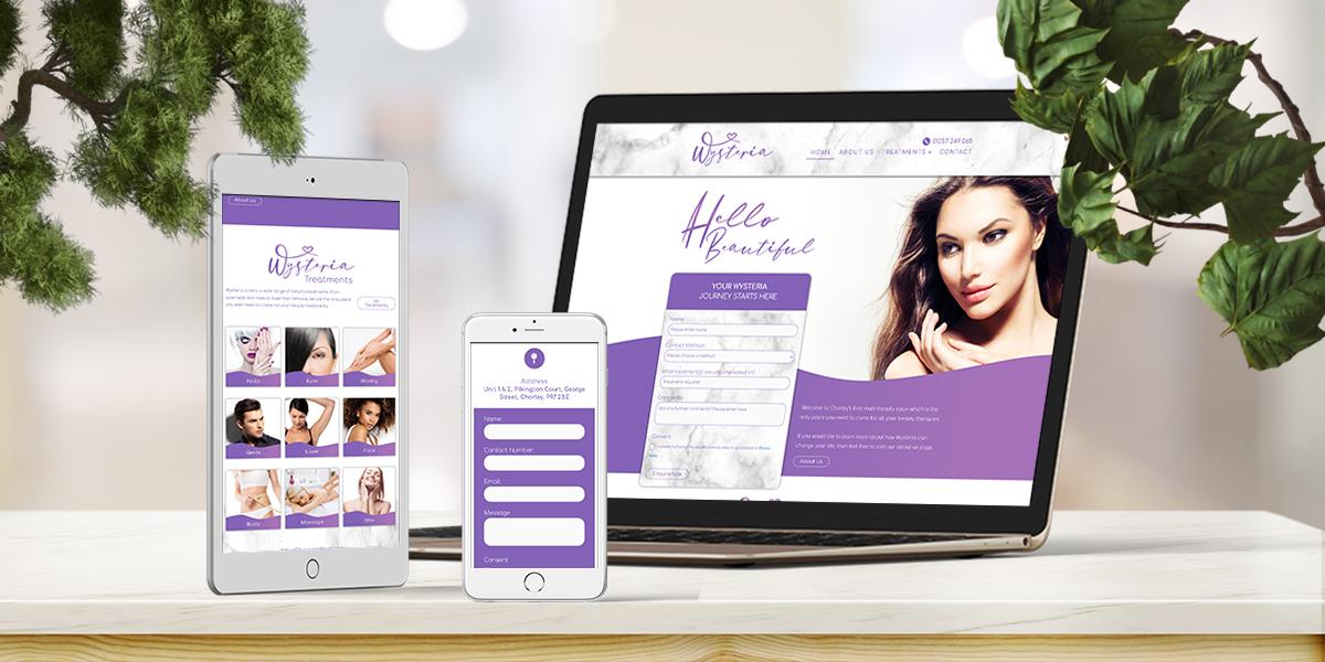 Wysteria Beauty Salon Website Build Main portfolio image