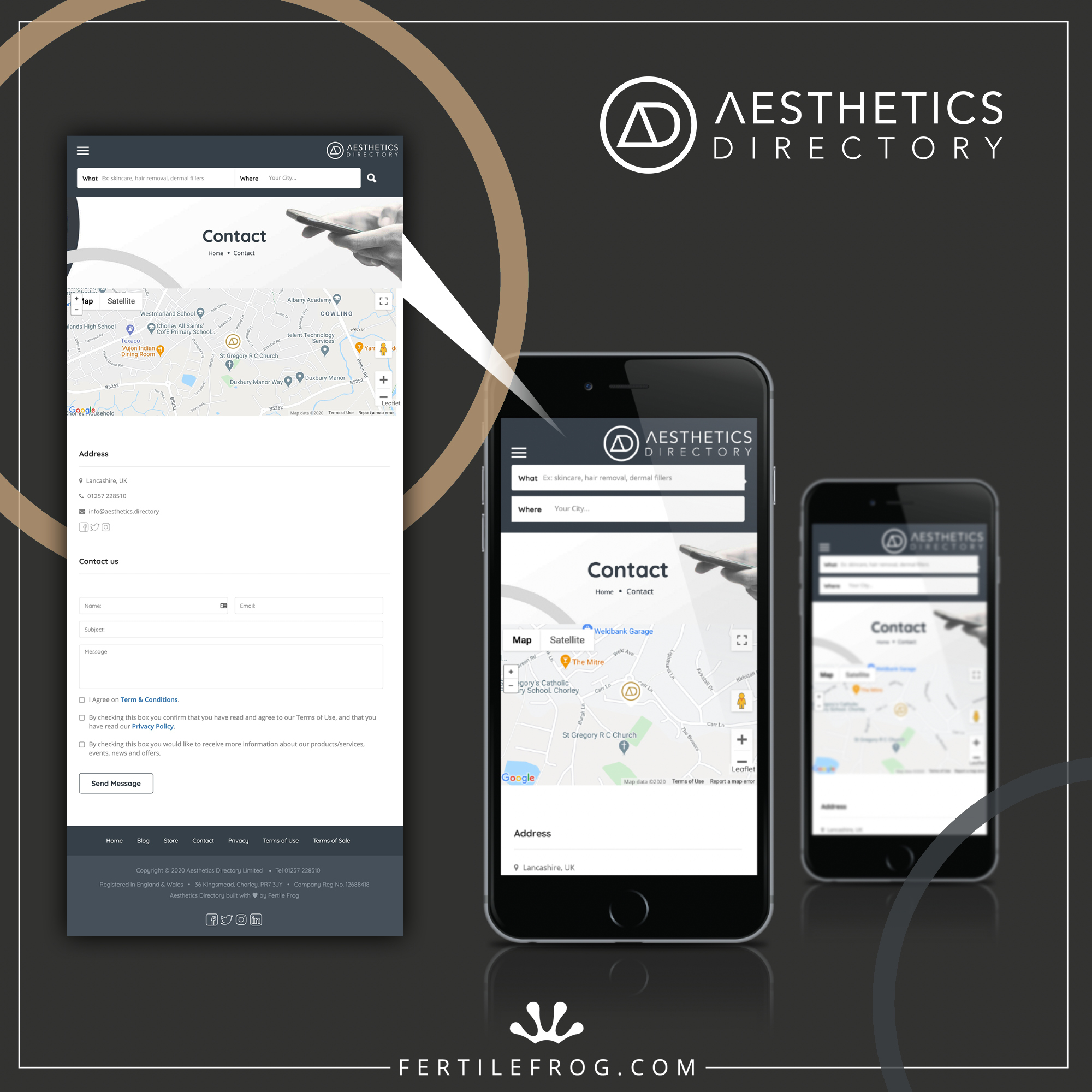 Graphic showing a screenshot of the Aesthetics Directory contact page