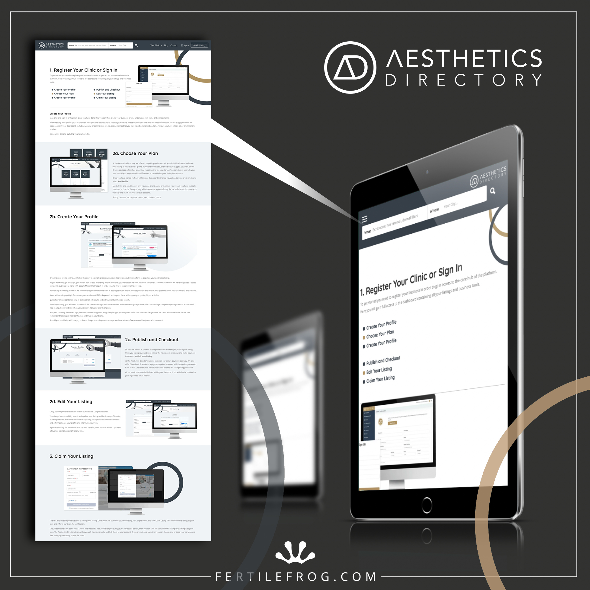 Graphic showing a screenshot of the Aesthetics Directory features and getting started page
