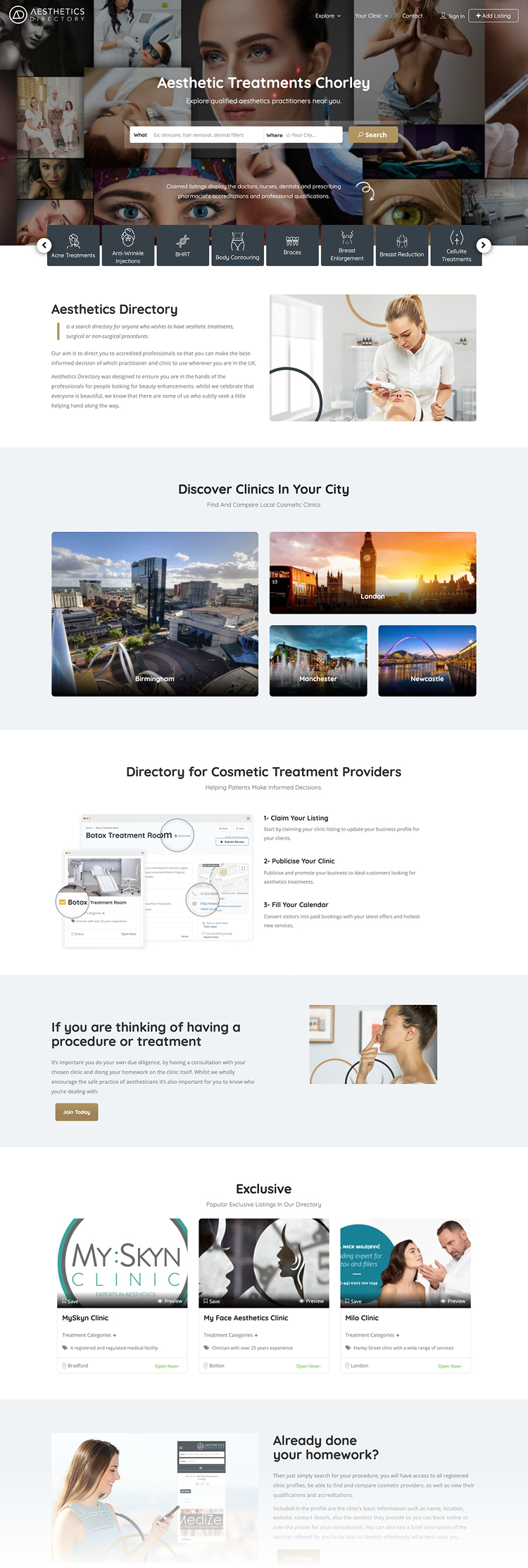 A full page screenshot of the Aesthetics Directory homepage