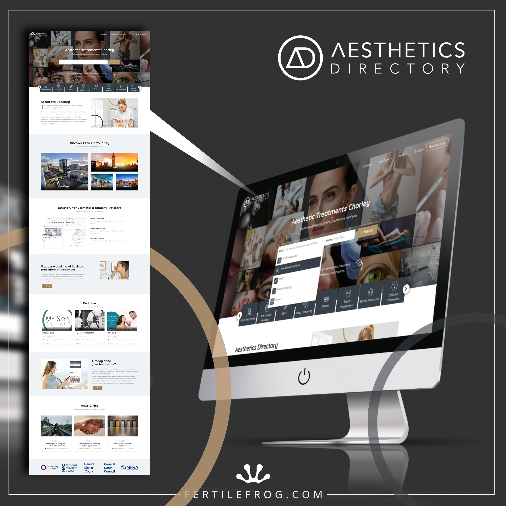 Graphic showing a screenshot of the Aesthetics Directory homepage