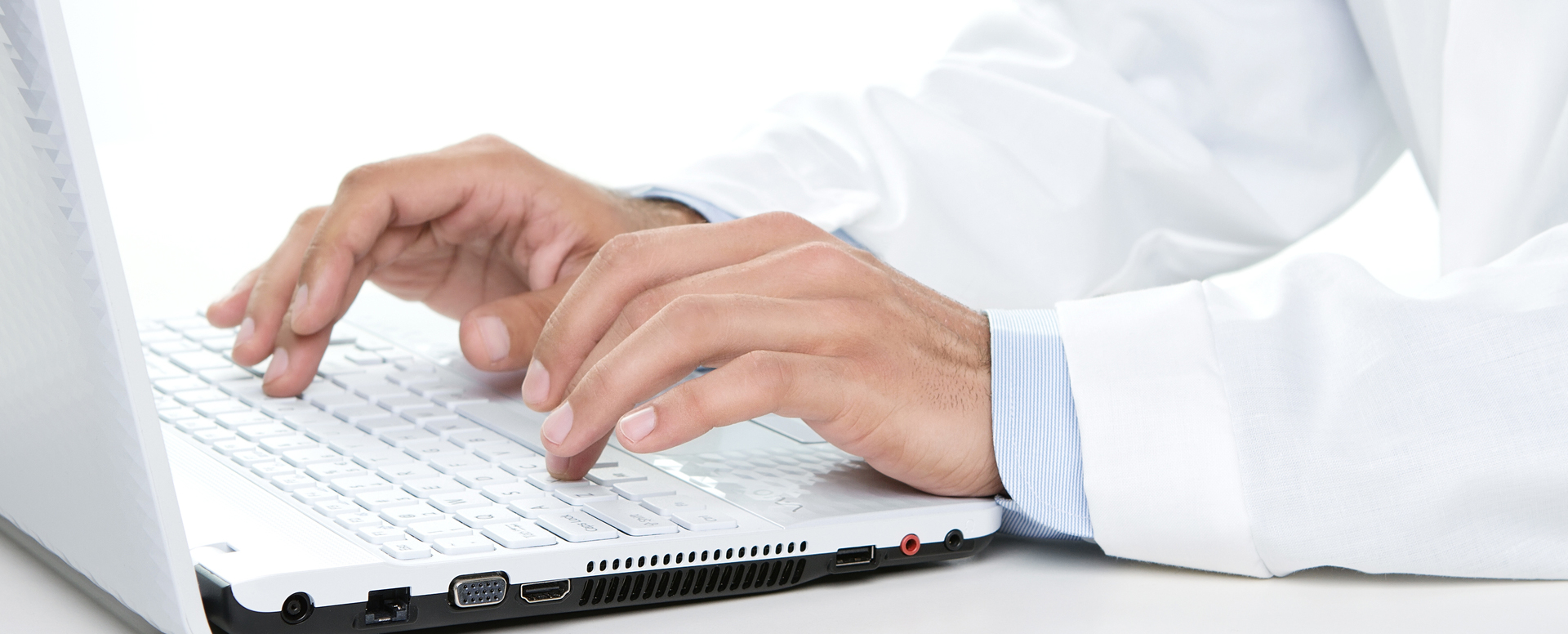 Practitioner using computer